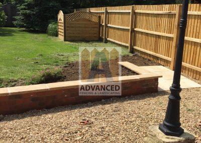 Retaining Garden Wall, Slabs, Screening & Featheredge Fence